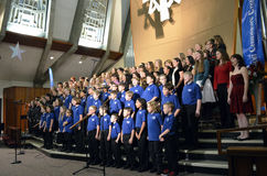 OR Children's Choir. The Oregon Children's Choir full choir singing in the 2012 formal Holiday concert Stock Photos