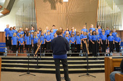 OR Children's Choir Singers. The Oregon Children's Choir Junior Academy Singers boys and girls singing in their 2012 Fall concert Stock Photos