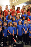 OR Children's Choir Singers. The Oregon Children's Choir Girls singing in the 2012 Sing-a-long concert at Valley River Center Mall Stock Image