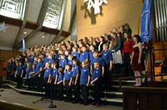 OR Children's Choir Singers. The Oregon Children's Choir full choir and alumni singing in the 2012 Holiday concert Stock Photography