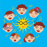 Children& x27;s Choir with Sun as conductor. Stylized Illustration of Children`s Choir and Sun.Vector available Royalty Free Stock Photo