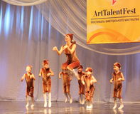 Children's choreography on stage Stock Photo
