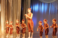 Children's choreography on stage Stock Image