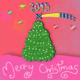 2015 children's Christmas card. Christmas tree Merry Christmas Royalty Free Illustration