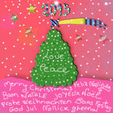 Children's Christmas Greeting card. With Merry Christmas text in many languages Stock Photo