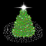 Children's Christmas tree. With lights and stars on black background Stock Image