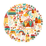 Children's circle background with happy houses Stock Photos