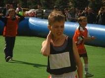 Children`s city sports competitions. stock image