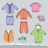 Children's clothes. Set of children's clothes, vector design elements Royalty Free Stock Photography