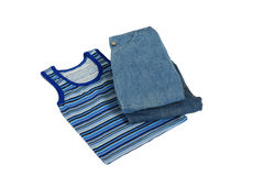 Children's clothes. Color children's clothes on boys on a white background Royalty Free Stock Photo