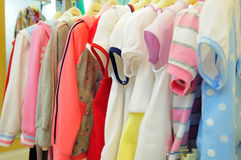 Children's clothing. Image of children's clothes in a clothing store Royalty Free Stock Photo