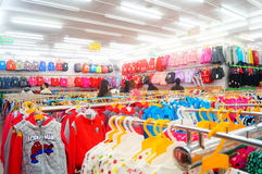 Children's clothing store interior landscape Stock Photography