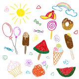 Children s color drawings in pencil and chalk on the theme of summer and sweets. Separate elements on a white background stock illustration