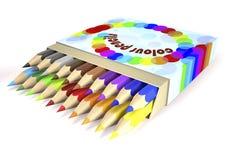 Children`s color pencils in box 3d illustration. Children`s color pencils in box on white background 3d illustration Stock Images