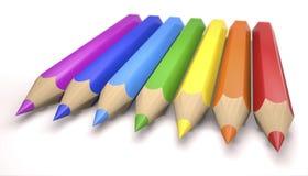 Children`s color pencils 3d illustration. Children`s color pencils as a rainbow colors on white background 3d illustration Royalty Free Stock Photography