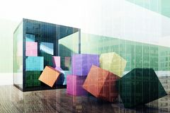 Children s colored building blocks, toned Royalty Free Stock Photos