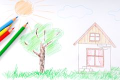 Children's colored sketch Stock Image