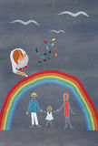 Children's colorful drawing of a family Royalty Free Stock Photos