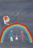 Children's colorful drawing of a family Royalty Free Stock Image