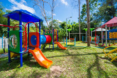 Children`s colorful playground in the park Royalty Free Stock Photography