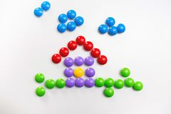 Children`s colorful toys background with space for text. Flat lay, top view stock photography
