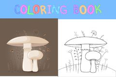 Children`s coloring book with cartoon animals. Educational tasks for preschool children cute mushrooms