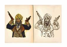 Children's coloring book - Corsair Royalty Free Stock Photos