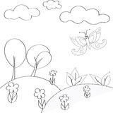 Children`s coloring elements of nature on a background. Children`s coloring elements of nature on a white background Royalty Free Stock Photos