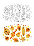 Children`s coloring page. Christmas balls. stock illustration