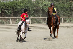 Children's competitions in equestrian Stock Photo