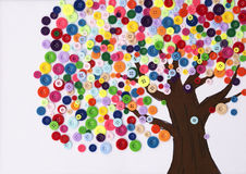 Children's craft of a tree made of buttons Stock Image