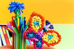 Children's creativity. Beautiful multi-colored children's crafts Royalty Free Stock Images