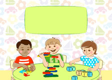 Children`s creativity. Happy cartoon boys and girl playing with toys. Royalty Free Stock Images