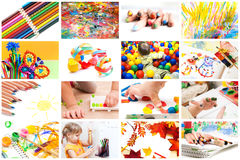 Children's creativity. Сollection of photos from the children's creativity Stock Images