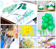 Children's creativity. Set from the children's crafts Stock Photography