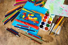 Children's creativity on the table Royalty Free Stock Photos