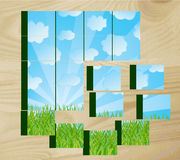 Children's cubes with the nature image Royalty Free Stock Photo
