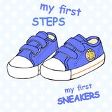 Illustration of children`s cute sneakers without shoelace classic design with embroidery and inscription. Children`s cute sneakers without shoelace classic Royalty Free Stock Images