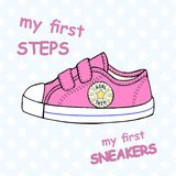 Illustration of children`s cute sneakers without shoelace classic design with embroidery and inscription. Children`s cute sneakers without shoelace classic Stock Photos