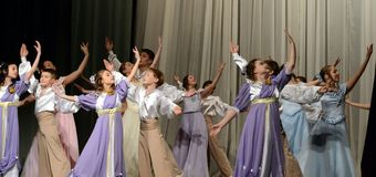 Children`s dance ensemble performs polonaise. MOSCOW, RUSSIA - DECEMBER 3, 2015: Children`s dance ensemble performs polonaise Royalty Free Stock Images