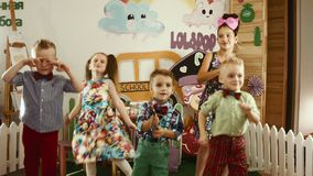 Children's dancing party stock footage