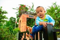 Children's dangerous climb Royalty Free Stock Image