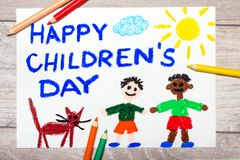 Children`s day card. Colorful drawing: Children`s day card royalty free stock photo