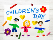Children`s day card. Colorful drawing: Children`s day card Stock Photography
