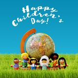 Children`s Day concept with kids and earth globe. Children`s Day concept with kids of different nationality and earth globe in the grass. Happy Children`s Day! royalty free illustration