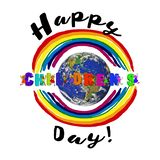Children`s Day concept with kids letters and rainbow. Children`s Day concept with kids letters, boy or girl of different nationality, earth globe and  rainbow stock illustration