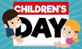 Children`s Day Design with Kids Hugging a Loose-leaf Calendar, Vector Illustration. Banner in flat style with cute pair of kids hugging a loose-leaf calendar to stock illustration
