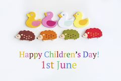 Children`s Day Greeting Card with Ducks and Hedgehogs. Colorful Ducks and Hedgehogs for 1st of June ,Children`s Day Concept Stock Photos