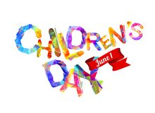 Children`s day. June 1 card. Children`s day. June 1 vector holiday card. Triangular letters Stock Photo