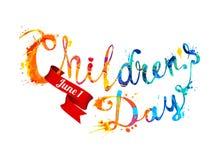 Children`s day. June 1. Hand written splash paint. Children`s day. June 1. Hand written vector splash paint Royalty Free Stock Image